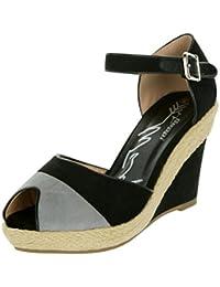 Beppi Hohe Sandaletten für Damen   mit Leder-Riemchen   Bast-Schuhe  Stylisch Modisch b8001c354a