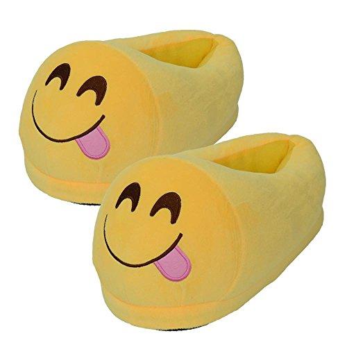 Pantoufles Chaudes Peluche Mignon Expression, QinMM Hommes Femmes Pantoufles Chaussures Hiver Maison Intérieur Joyeux