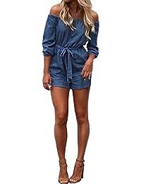 ISASSY Damen Jumpsuit Jeans schulterfrei Overall Playsuit Sommerkleid Strandkleid Partykleid