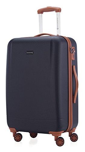 Hauptstadtkoffer - wannsee - valigia da viaggio rigida e legera, media 68 cm, trolley abs, tsa, 63 litri, blu scuro
