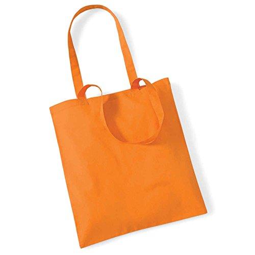 Westford Mill Leben Lange Griffe Shopper Schultertasche Einkaufstasche Baumwolle WM101, baumwolle, hellrot, 38 x 42cm Orange