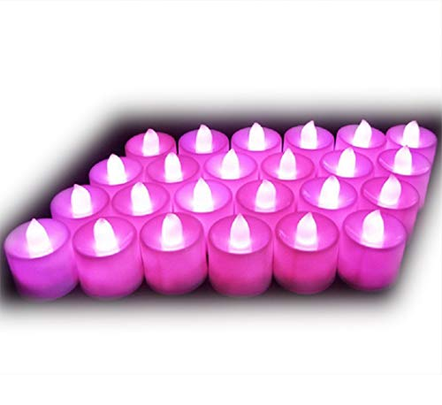 Lot de 24pcs Bougies LED à Piles sans Flamme, Réaliste et Bright, LED Lumières de Thé - Fausses Bougies électriques pour Votive, Table Party Anniversaire Mariage Rose