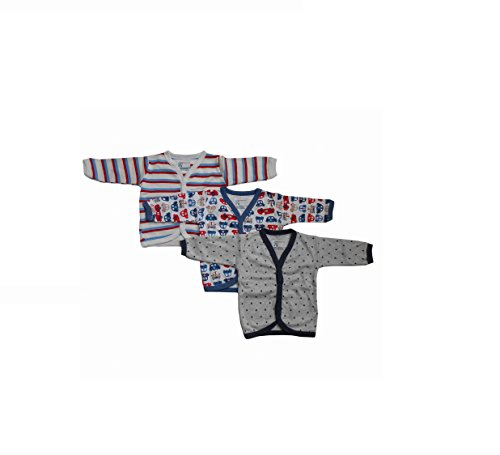 NammaBaby Cotton Front Open Full Sleeves vest- Tshirt -MULTI CUTE Set Of 3 (6-9 months)