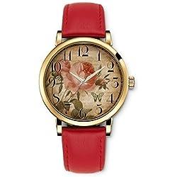 iCreat Damen Analog Armbanduhr Rot echte Leather Schnalle Schönes Zifferblatt mit Vintage Retro Blumen