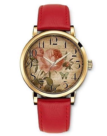 iCreat Damen Analog Armbanduhr Rot echte Leather Schnalle Schönes Zifferblatt mit Vintage Retro (Katze Weihnachtskarten)