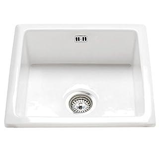 Astini Hampton 100 1.0 Bowl White Ceramic Undermount/Inset Kitchen Sink & Waste
