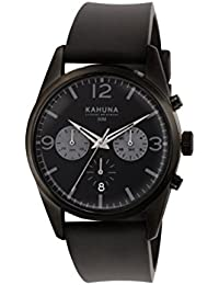 Kahuna Men's Quartz Watch with Black Dial Chronograph Display and Black Silicone Strap KCS-0010G