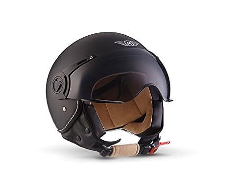 MOTO H44 Matt Black · Mofa Helmet Retro Vintage Bobber Biker Jet-Helm Motorrad-Helm Roller-Helm Cruiser Vespa-Helm Chopper Pilot Scooter-Helm · ECE zertifiziert · inkl. Sonnenvisier · inkl. Stofftragetasche · Schwarz · L (59-60cm)