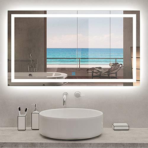 AICA SANITARIOS Espejo de baño 120x70 cm Espejo led - Interruptor Táctil - Función Anti-Niebla ...