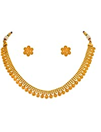 JFL - Traditional Ethnic One Gram Gold Plated Designer Necklace Set With Earring For Women & Girls.
