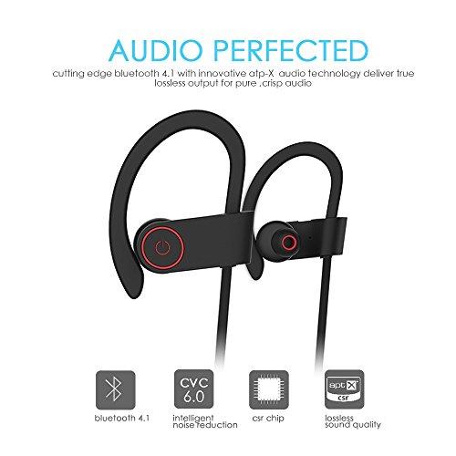 Bluetooth Kopfhörer, ALIENSX Kabellose Bluetooth 4.1 Sport Stereo In Ear Ohrhörer, Schweiß Resistant, CVC 6.0 Rauschunterdrückung mit Mikrofon, Sichern Fit, für Fitness/Workout/Jogging/Training usw (Schwarz) - 5