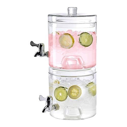 DLINMEI Unbreakable Stackable Beverage Dispenser Server Set jeweils mit Wasserhähnen und Eiskegeln (Size : Double Barrel) (Mini Wasser-krug-spender)