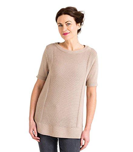 WoolOvers Pull à manches courtes en maille épaisse - Femme - Soie & Coton Deep Linen