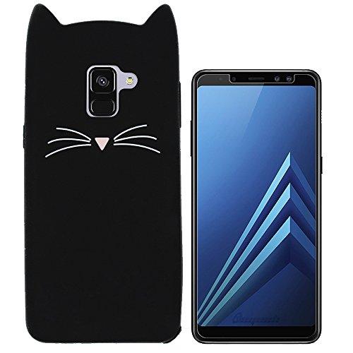 Hcheg Hülle für Samsung Galaxy A8 2018 Duos (A530F/DS) - 3D Silikon Backcover Case Handy Schutzhülle - Cover klar Katze Design Schwarz Weiß + 1X Screen Protector