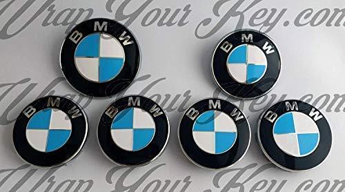 Babyblau M SPORT & Weiß Abzeichen Emblem Vinyl Überzug Aufkleber Superwrappz Bezüge für BMW Haube Koffer Felgen Räder für Alle Serie 1,2,3,4,5,6,7,X1,X2,X3,X4,X5,X6,Z1,Z3,Z4,Z8,Sport,X-Drive (Bmw 3 Serie Felgen)