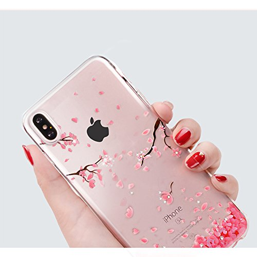 Cover the iPhone X Ultra Slim, Custodia per iPhone X, Bonice Ultra Slim Diamante Bling Glitter Lusso Cristallo Strass Morbida Rubber Bumper 360 Gradi TPU Gel Silicone Morbido Corona Case Cover e Cingh Model 04