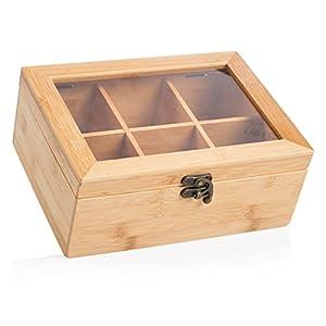 Wenco Boîte à thé avec 6compartiments, 21,7x 16x 9cm, bambou, marron clair, 531269