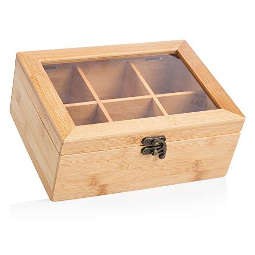 wenco Teebox mit 6 Fächern, 21,7 x 16 x 9 cm, Bambus, Hellbraun, 531269 Bambus 9