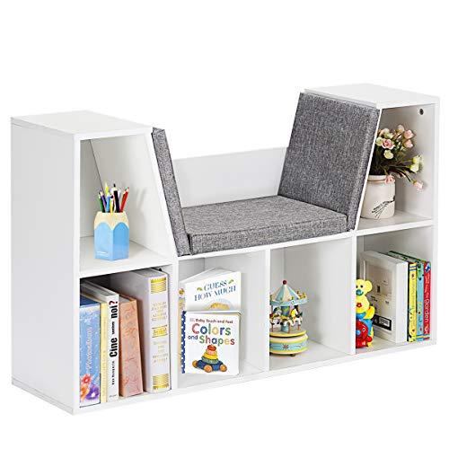 COSTWAY Bücherregal weiß, Raumteiler Bücherschrank Regal Würfelregal Standregal Aktenregal Aufbewahrungsregal Holzregal, mit Kissen