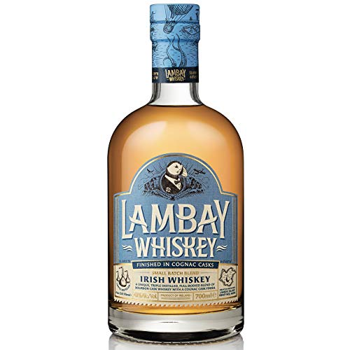 LAMBAY WHISKEY, Small Batch Blend, Whisky Irlandais Triplement Distillé, Fruité & Non Tourbé, 40° 70cl