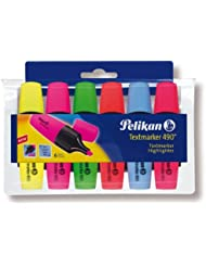 Pelikan 943316 - Textmarker 490/6, 6er Pack, sortiert in den Farben: gelb/rosa/grün/orange/blau/rot
