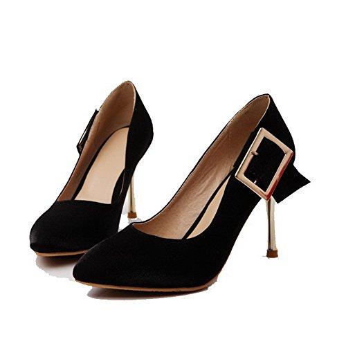 AgooLar Femme Matière Souple Tire Pointu à Talon Haut Couleur Unie Chaussures Légeres Noir