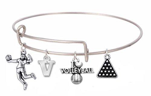 yball Sport Charms erweiterbar Armreif Armband mit Kristall für Frauen & Mädchen (Volleyball-armbänder)