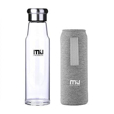 MIU COLOR® Stilvolle Tragbare 700ml Glasflasche Größere Kapazität Trinkflasche - Nylon Tasche für Auto (onhe Teesieb?
