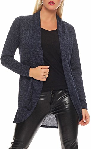 Malito Damen Strickjacke lang | Cardigan im eleganten Design | Angesagter Oversize Look - Weste - Jacke 5021 (dunkelblau)