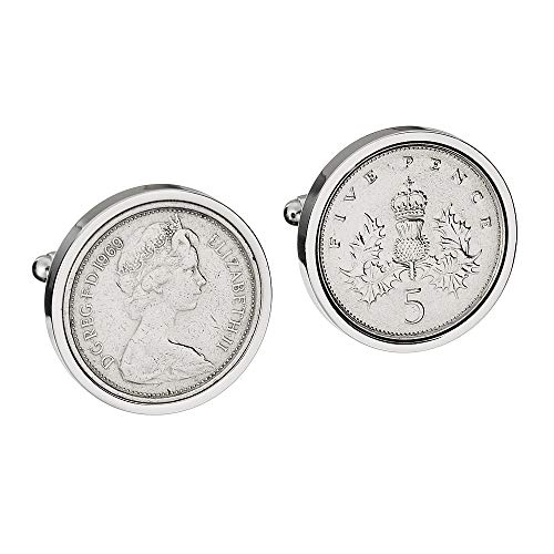 50th Birthday Gift for Men – LARGE 1969 English LARGE 5P Cufflinks – Genuine 1969 Coins – VERY LARGE COINS – OLD 5P COINS 23MM IN SIZE ***