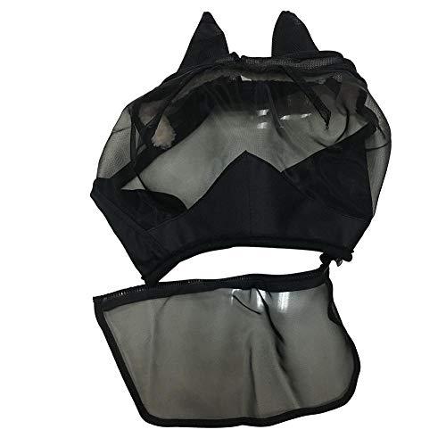 Pferdemaske, Maske mit Pferdekopf, Abnehmbare Maske aus Mesh mit Nasenabdeckung mit Reißverschluss und Anti-Mückenmaske für Das Gesicht