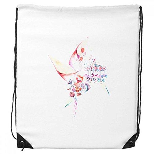 Karussell, Windmühle Lollipop Aquarellzeichnung Kordelzug Rucksack feine Linien Shopping Handtasche Kreatives Geschenk Schulter Umweltfreundliche Tasche aus Polyester