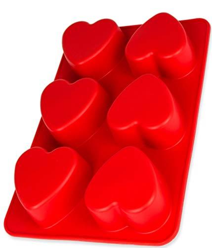 Silikonform mit Herzen, 6 Herzchen, Backform für Muffins, Brownies, Cupcake, riesige Eiswürfel, Bowle, Valentinstag, Liebe, Hochzeit, Kuchen, Pudding, Schokolade, Seife, Farbe: Rot, BlueFox