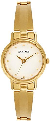 Sonata Analog White Dial Women's Watch -8096YM04C