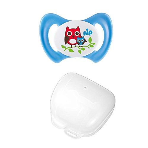 nip Doppelpack Dentalschnuller Miss Denti, Größe 1, Eule / Schnullerbox, blau / weiß