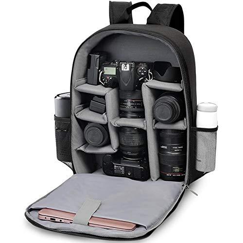 CADeN Kamerarucksack Camera Backpack Wasserdicht Kameratasche Fototasche für Sony Canon Nikon und 1 DSLR/SLR 7 Objektiv Stativ Zubehör (Schwarz)