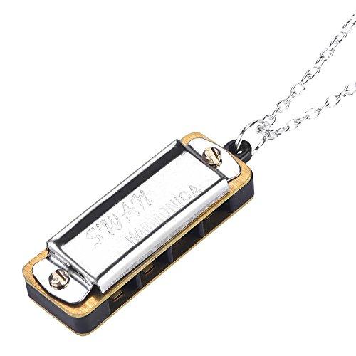 Drfeify Mini Mundharmonika, Tragbare C 4 Löcher 8 Töne Mundharmonika mit Halskettenschlüssel für Kinder Erwachsene(Silber)