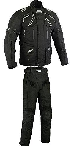 Herren Kombi Motorradbekleidung Biker Anzug Zweiteiler Motorradkombi Schwarz (XL)