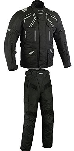 BOSMOTO Herren Kombi Motorradbekleidung Biker Anzug Zweiteiler Motorradkombi Schwarz (L)