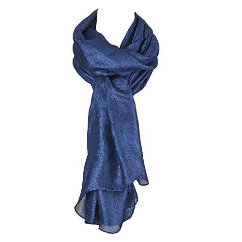 Einfarbiger Seide Schals Gross Halstuch Stola Marineblau Abendkleidung
