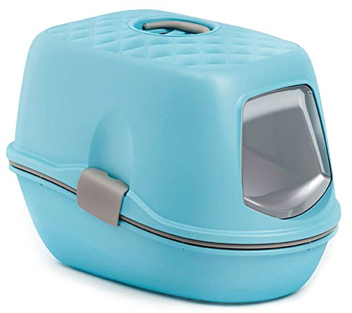Trixie Berto Top bandeja con techo para arena de gato azul claro/Taupe/granito 39× 42× 59cm