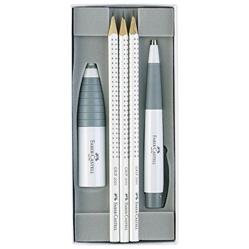 Faber-Castell 217013 - Schreibset White Edition, mit 3 Bleistiften GRIP 2001, 1 Radierer-Spitzer Kombination, 1 Kugelschreiber CONIC, weiß