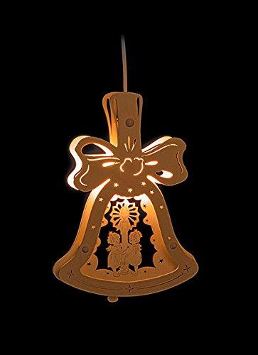 Erzgebirgsstübchen Fensterbild Engeln mit Licht in Glocke beleuchtetes Fensterbild aus Holz Weihnachtsdeko Weihnachten