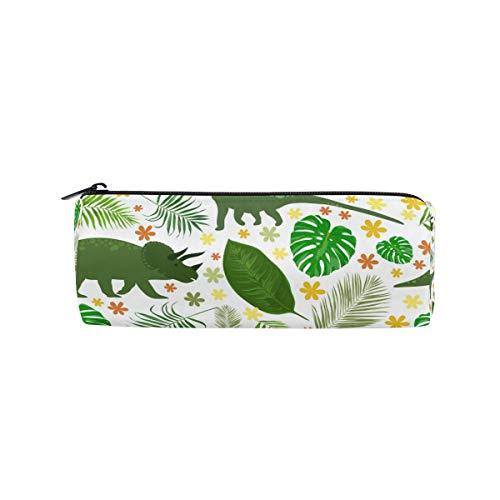 Ahomy Federmäppchen, lustige grüne Dinosaurier und tropische Blätter, mit Reißverschluss, Bleistifttasche für Teenager Mädchen und Jungen, Reise-Make-up-Tasche für Frauen (Karten Lustige Geburtstag Pack)