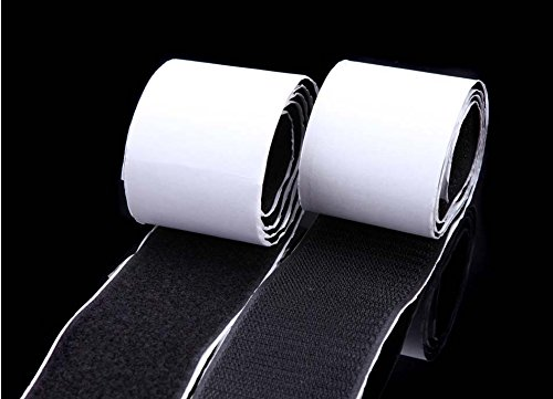Generic White : black / white Width 5cm long 1m Self Adhesive Stick buckle belt and Hook Loop adhesive magic such as nylon tape sewing supplies