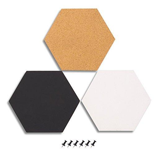 3er Pack Kork Bulletin Boards-Dekorative Fliesen Sechskant in 3verschiedene Farben-inkl. 6Pins-Perfekt für abstecken Erinnerungen in Ihre Küche, Büro oder Klassenzimmer, 19,8x 19,8x 0,5cm