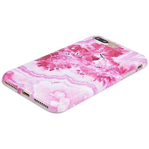 Coque iPhone 7 Plus (4.5 pouce) , Jade Blanc Marbre TPU Case Silicone Slim Souple Étui de Protection Flexible Soft Cover Anti Choc Ultra Mince Integrale Couverture Motif Design Bumper Caoutchouc Gel A Rouge