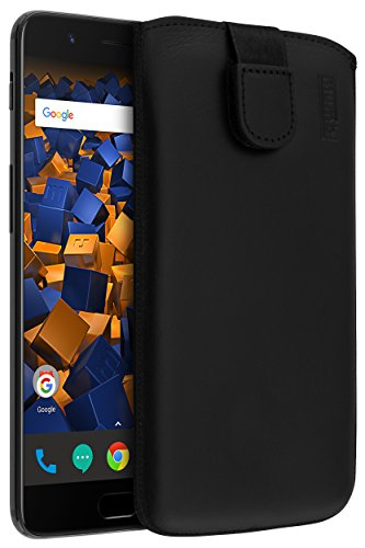 mumbi ECHT Ledertasche für OnePlus 5 Tasche Leder Etui (Lasche mit Rückzugfunktion Ausziehhilfe)