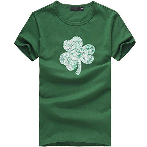 Malloom® St Patricks Shirt St Patricks Kleid Herren Kleeblatt T- Shirt Grünes Herz Kleeblatt St. Patrick's Day Irland Damen T-Shirt o-Ausschnitt Klee Mode Druck (L, grün) -