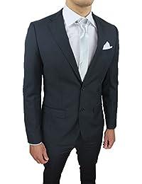 Abito Completo Uomo Sartoriale Grigio Scuro Slim Fit Elegante con Pochette  da Taschino e7bb001ea35